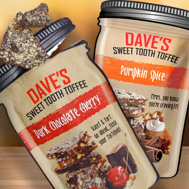 Food and candy pouches packaging for Dave's Sweet Tooth case study