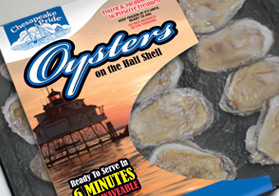 Printed wrap for frozen oysters packed in a tray designed to impart the freshness of the product and stand out in the retail freezer case.