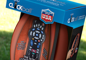 This football shaped remote needed a package to catch the eye of any sports fan, with clear indications for its use.