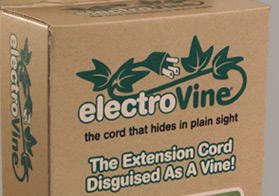 Logo design and package for a unique power cord disguised as a vine.