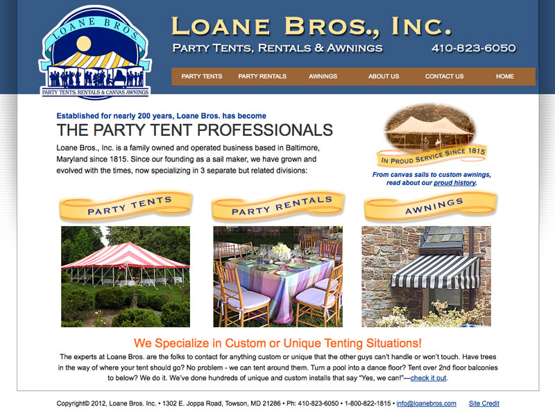 B to C Lead Generation Website for Loane Bros. - Party Tent Rentals.