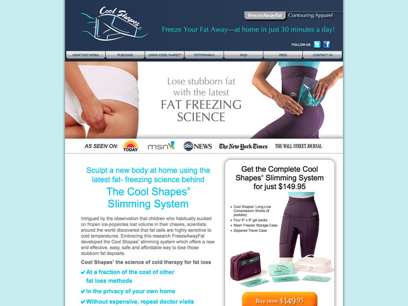 B to C ecommerce and product information website for Freeze Away Fat.