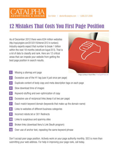 Improve your website page rank with these simple changes. title=12 SEO Mistakes That Kill Page Rank