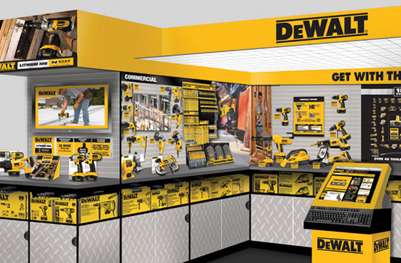 In-Store POP Concept Rendering for DeWalt Consumer Tools