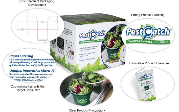 Pest Catch packaging with design elements highlighted