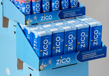 Custom point of purchase retail floor display. title=ZICO Products Floor Display