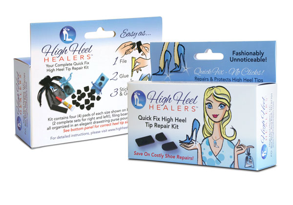 Retail packaging and website for Quick Fix High Heel Tip Repair Kit.
