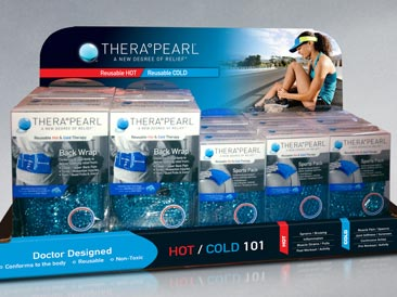 Counter PDQ display for TheraPearl products