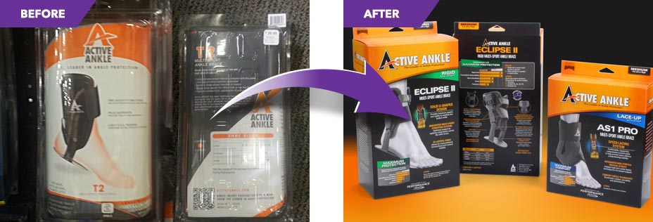 Before and after comparison of the same product in different packaging.