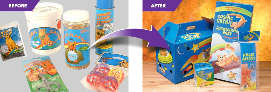 Comparison of a before and after pet product packaging redesign by Catalpha