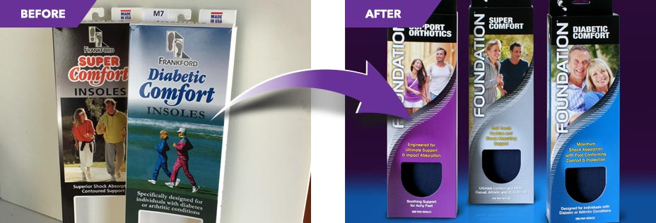 Before and after design comparison of retail product packaging.