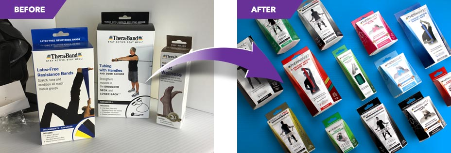 Catalpha's redesign before and after comparison of health and fitness products.