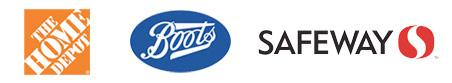 Various logos of retail stores - Home Depot - Boots - Safeway
