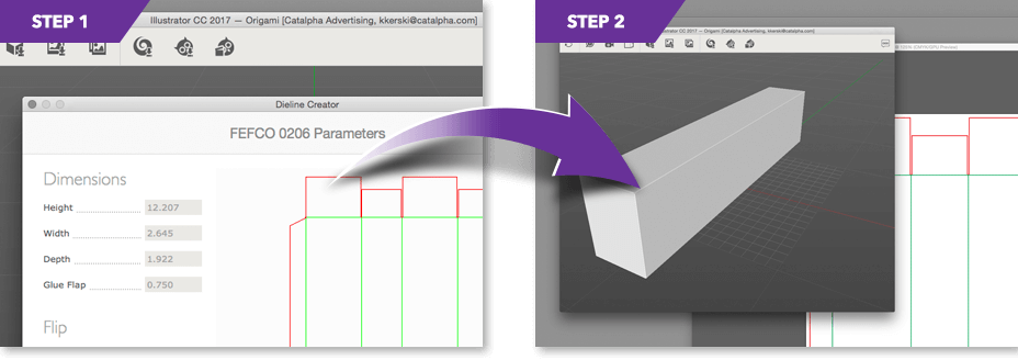 Steps 1 - 2 of Catalpha's 3D rendering process.