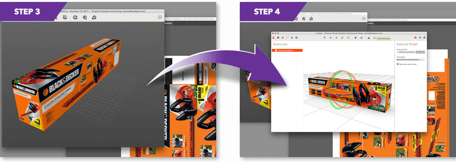 Steps 3 - 4 of Catalpha's 3D rendering process.