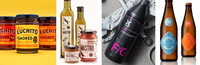 Examples of design options for labels on bottles and jars