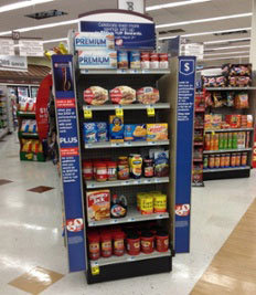 Point of purchase display in a retail store environment