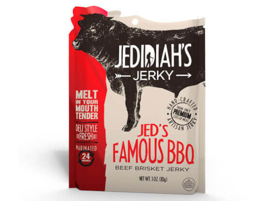Resealable stand-up pouch for beef jerky.
