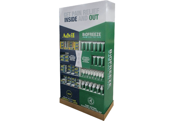 Large end cap floor display for health and wellness products