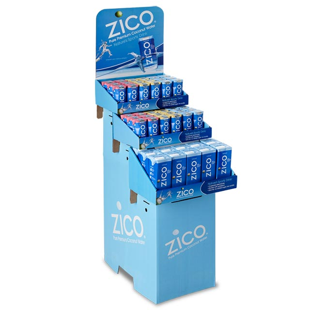 Custom tiered floor display for retail products