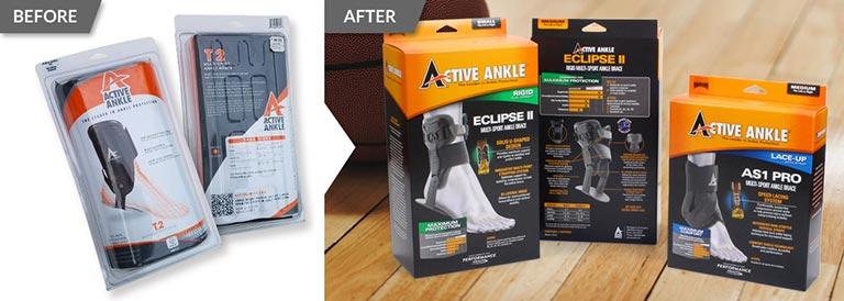 Before and after packaging redesign of Active Ankle sport product packaging