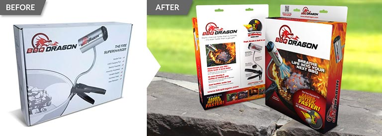 Before and after packaging redesign of BBQ Dragon product packaging