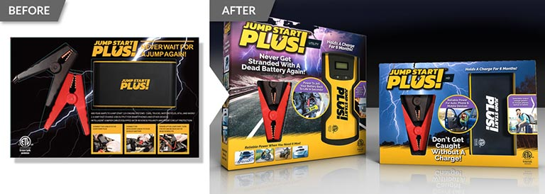 Before and after example of a packaging redesign of JumpStart product packaging