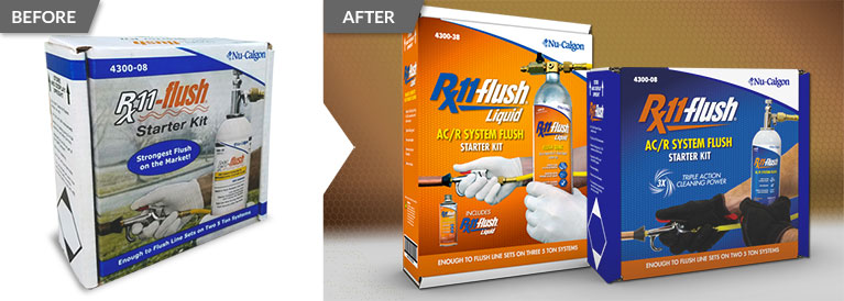 Before and after comparison of a package redesign for Nu-Clagon product