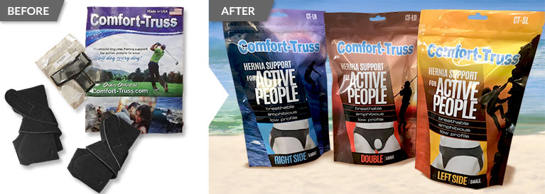 Before and after comparison of a package redesign for Comfort-Truss product