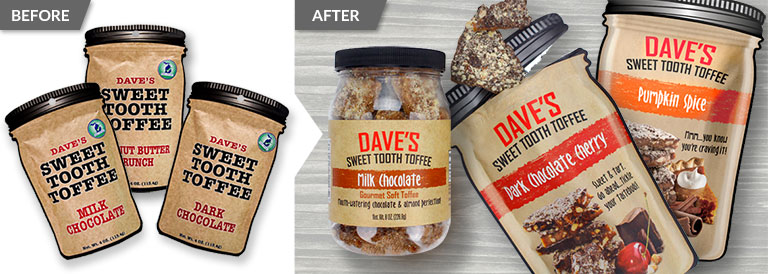 Before and after comparison of a package redesign for Dave's Sweet Tooth product