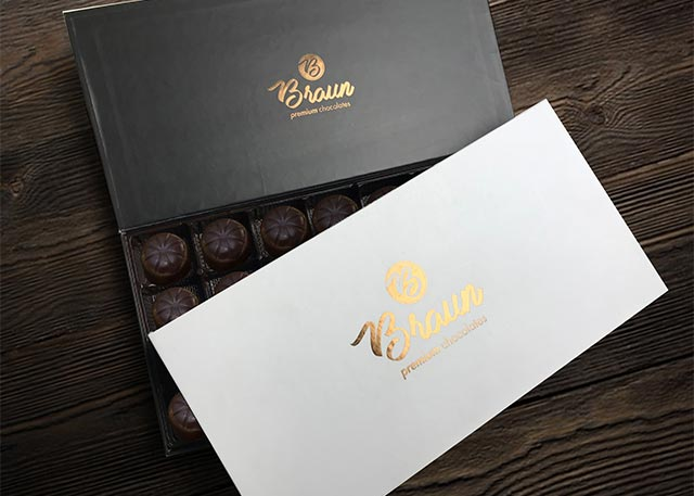Luxury candy box packaging with foil printing