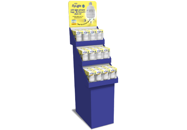 A 3-tiered cardboard floor display for a retail product.