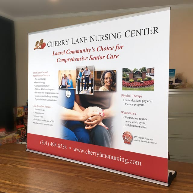 Table Top Pull-Up Banner for a nursing home