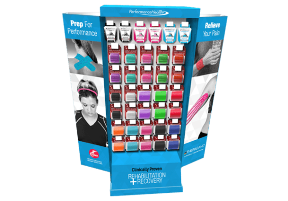 Retail floor display with various types sports tapes