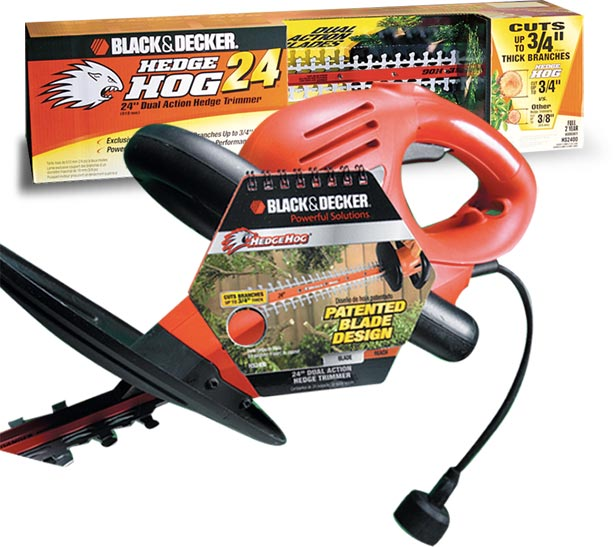 Black & Decker Hedge Hog product packaging and on-board point of purchase