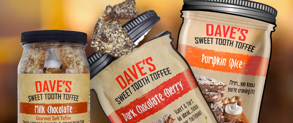 Snack Food packaging for Dave's Sweet Tooth products