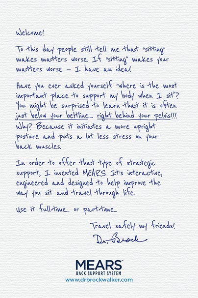 Personal hand written note from Dr. Brock