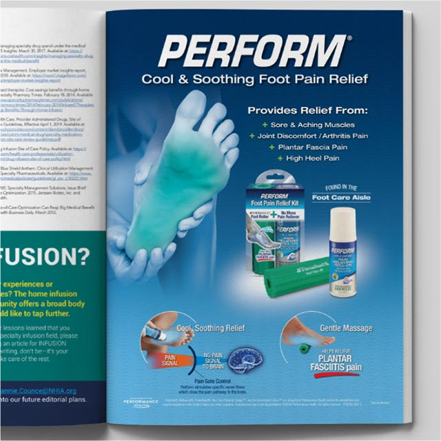 Magazine ad for Perform pain relief kit