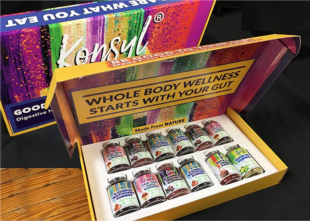 An open sales kit showing fiber supplements