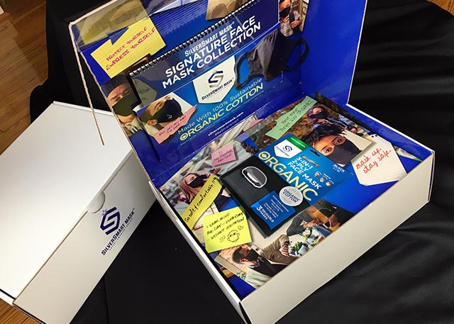 An open sales kit showing sales materials